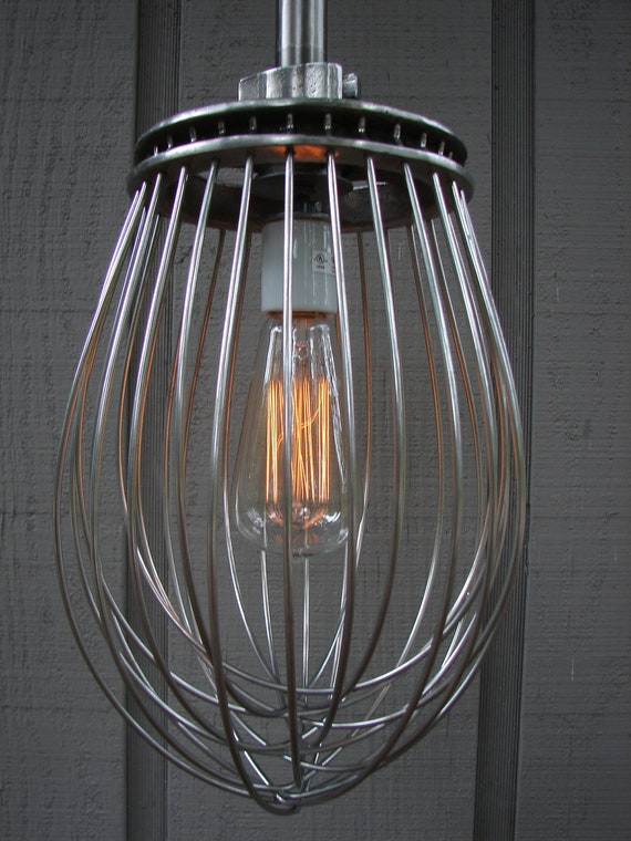 Upcycled Industrial Commercial Whisk Pendant