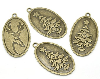 3 Christmas Pendants -  Bronze - Double Sided - Christmas Tree and Deer - LARGE - 44x26mm - Ships IMMEDIATELY from California - BC393