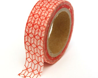 SALE Washi Tape - Red Geometric Print - 15mmx10m - TP126