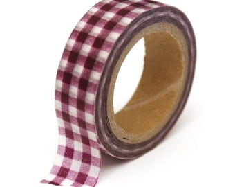 SALE Washi Tape Purple Gingham Plaid - 15mmx10m - 1 Roll - Ships IMMEDIATELY from California  - TP129