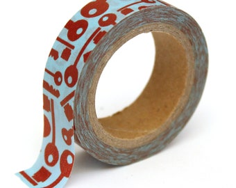 SALE Washi Tape - Red on Blue Keys - 15mm x 10m - TP192