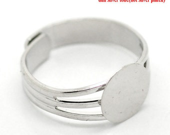 10mm Cabochon Rings - Silver - 18.3mm (US 8) Adjustable - 3pcs - Ships IMMEDIATELY from California - A100