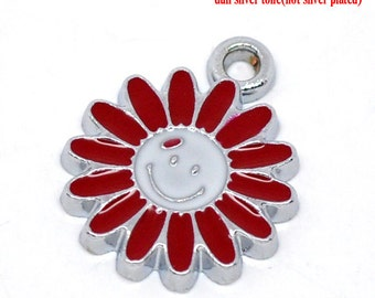 SALE 5 Flower Charms Smiley Silver Enamel 16x13mm - Ships IMMEDIATELY  from California - E33