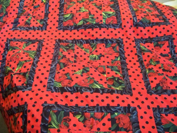RESERVED for Jane S. Patchwork Tablecloth Quilt - Rouge et Noir Tulips - Red, Black, and Green.