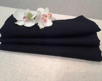 Linen NAPKINs Set of 4 Natural Organic Flax Black ECO Friendly