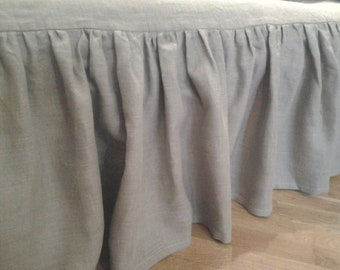 Linen Bed Skirt Grey Gray Queen ECO