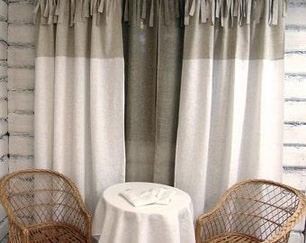 Linen Curtain Panel White Tie top 100% linen custom length ECO