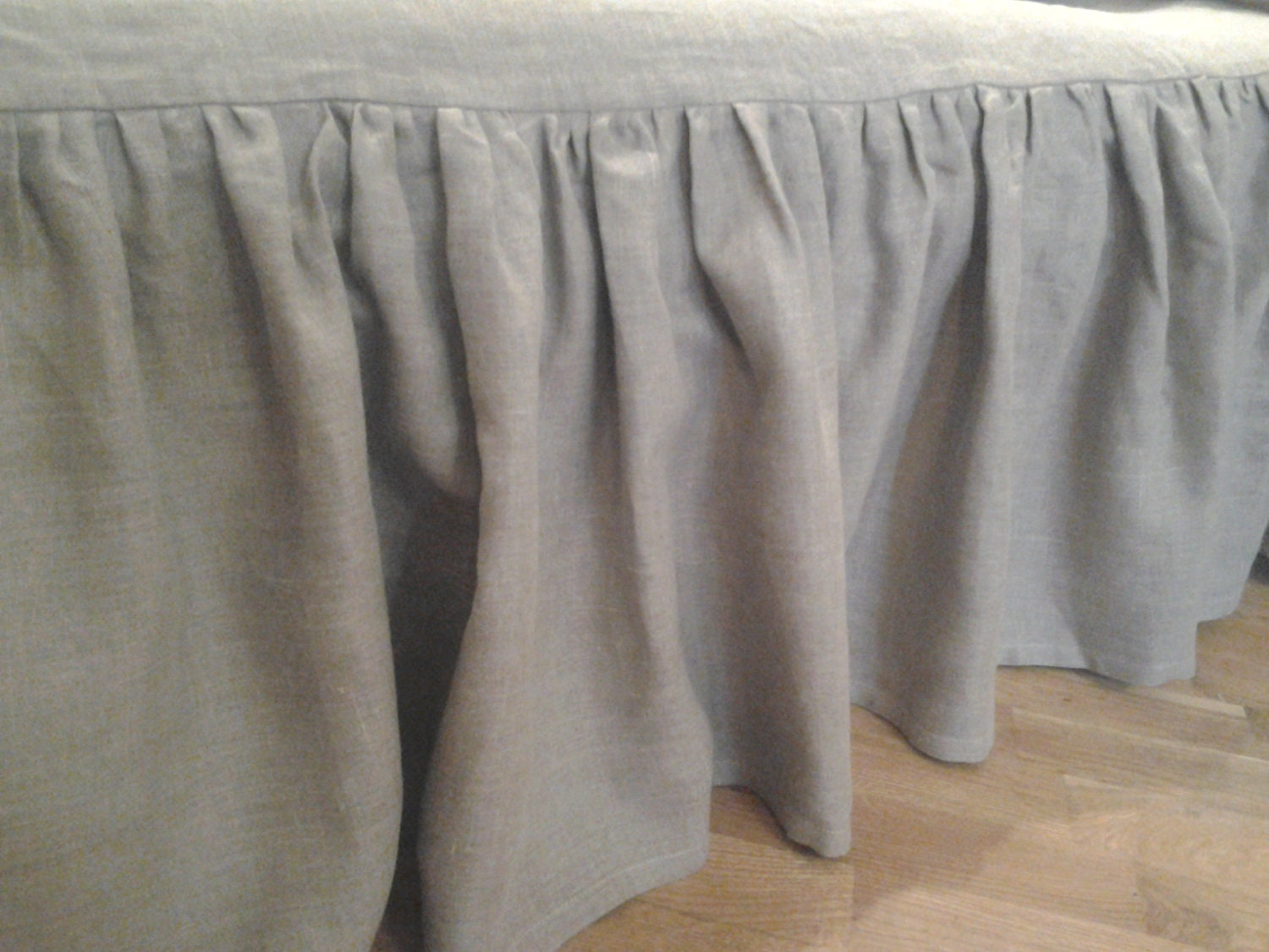 Linen Bed Skirt Grey Gray Twin Eco