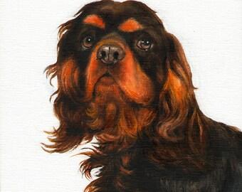 New Original Oil Art KING CHARLES SPANIEL Portrait Painting Artwork Puppy Dog Signed