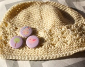 House Birdy and Tree Cute Crochet Little Kids Hat - Beige or Off White