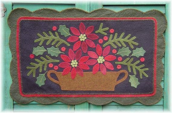 The Country Cupboard Primitive Folk Art Pointsettia Penny Rug