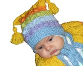 Baby hat Rainbow, knitted baby hat, baby boys hat, colorful baby hat / 0-3M