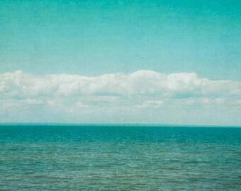 Modern Ocean Photography, Lake House Decor, Aqua Blue Photograph, Coastal Decor, Seaside Wall Art, Bedroom Artwork, Oversized Art Print