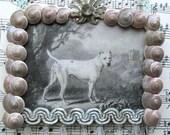 "Vintage Dog Print Shabby French Decor Assemblage Art Shabby Aqua Cottage Chic Home Decor, OOAK 3 1/4"" x 4"""