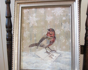 Bird Vintage Winter Bird Print Winter White Decor Original Art Vintage Holiday Vintage Framed Bird Painting Let It Snow