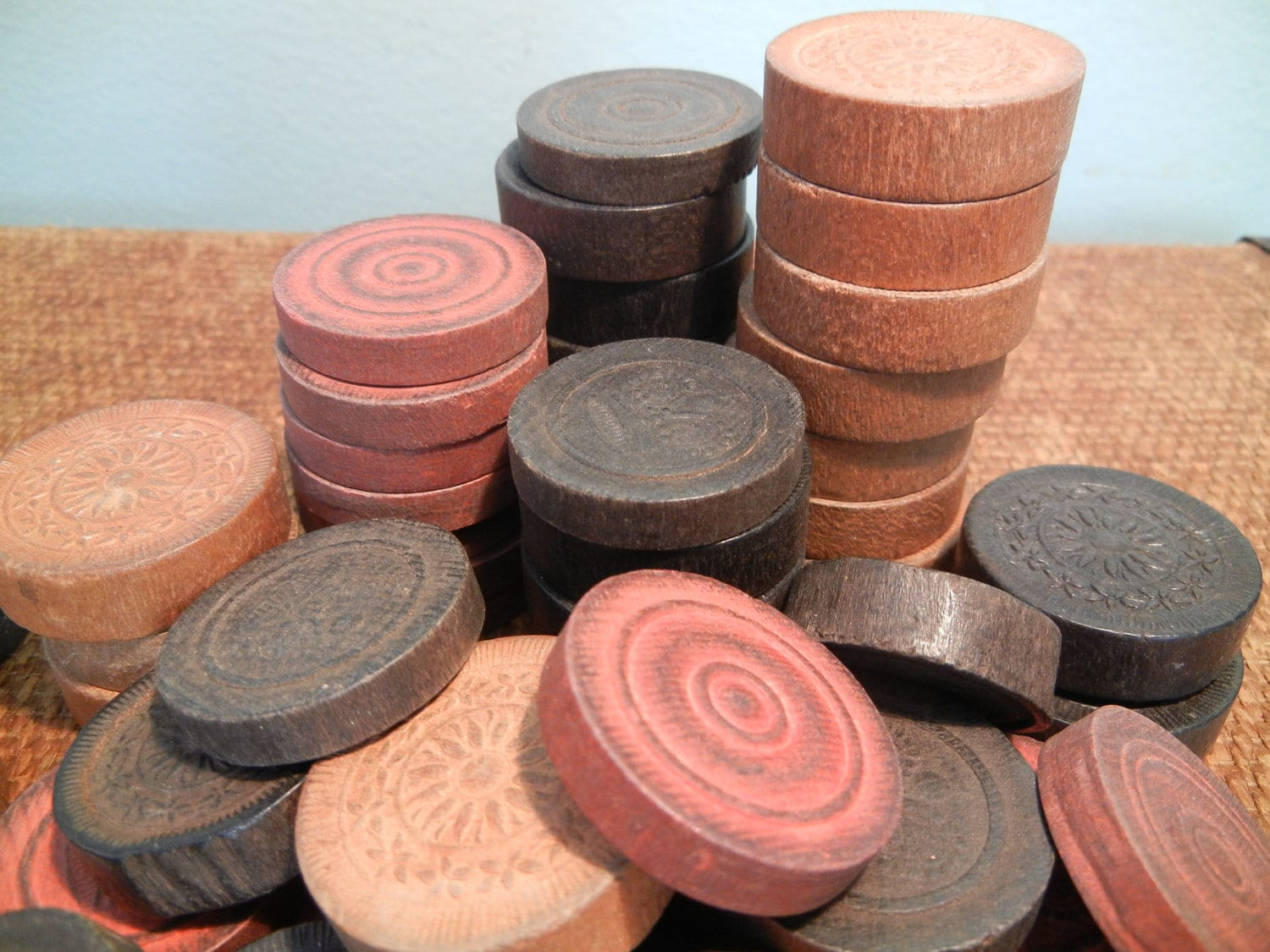 Vintage wooden checkers game pieces by goodkarmakc on Etsy