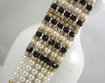 Gorgeous Vintage 5 Strand Glass Pearls Black Onyx Stones and Clear Rhinestones Adjustable Gold Tone Choker Necklace