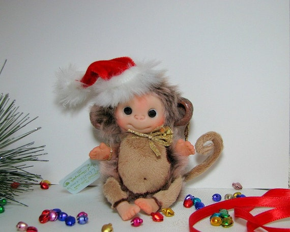 BEIGE Brown Cute Monkey  Baby Doll, Decoration for home, for Christmas, Collectables Heartwarmer made to order.