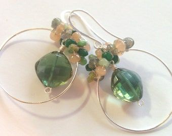 Evergreen Pastures at Dusk, Emerald Green Hydro Quartz Cushion Cut, Clustered Hoop Earrings