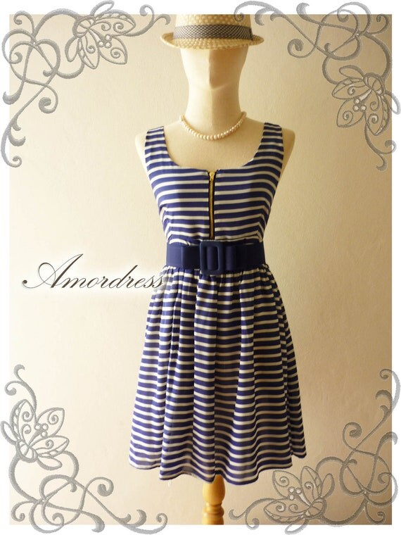 Amor Vintage Inspired Blue Stripe Party Dress Vintage Chic Chiffon Wedding Prom Party Mini Dress -Fit XS-S-