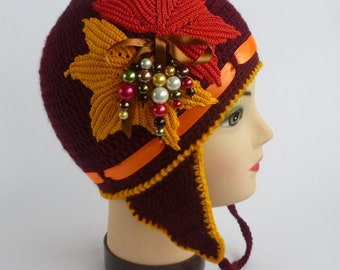 Instant Download Crochet PDF Pattern - GOLDEN AUTUMN hat with applique