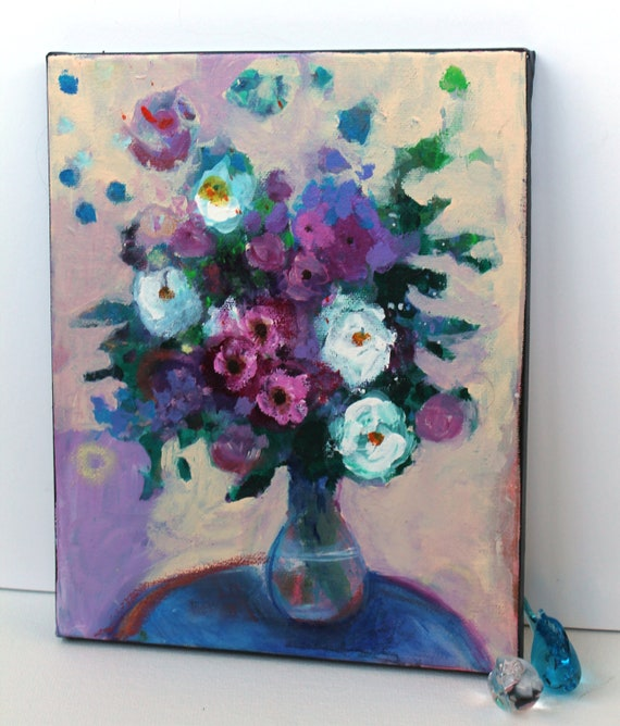 "Reserved for Brigitta Floral Still Life Abstract Act Modern Painting Original on Canvas ""Bouquet"""
