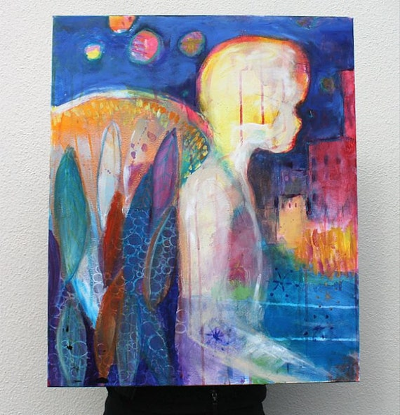 "Abstract Angel Acrylic Painting Modern Art on Canvas ""City Angel"""