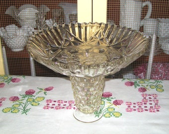 Footed Fruit Bowl,Up-cycled Federal Glass Pioneer Fruit Bowl and Indiana Glass Manhattan Tumbler