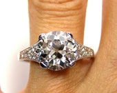 Reserved....1910 Edwardian 3.07ct Old European Round VINTAGE ANTIQUE Solitaire Diamond Wedding ENGAGEMENT Ring in Platinum
