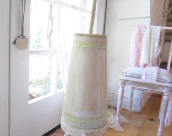 Butter churn  with original stool shabby chic chippy painted farmhouse cottage
