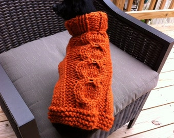 Pumpkin Cabled Dog Sweater Hand Knitted