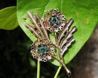 Goldtone Floral Brooch w/ Emerald Green Rhinestone Centers