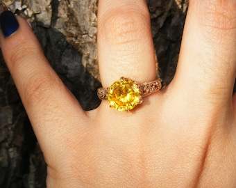 7 ct Yellow Zircon & 14kt Rose Gold Ring
