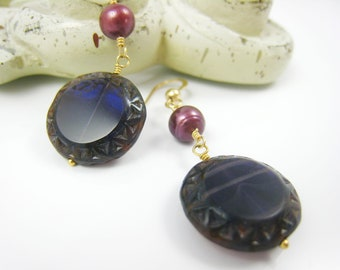 Purple Czech Glass Earrings Dark Purple Glass Earring Dangle Earring Plum Wine Purple Drop Purple Jewelry Earring Spring Gift Idea For Her
