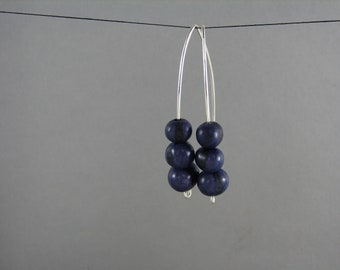 Modern Purple Earrings Acai and Sterling Silver