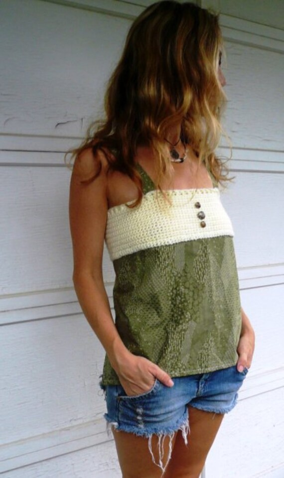 Green & Cream Hippie Halter Top, crochet
