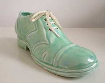 Pale Green Lace-Up Pottery Shoe by 'Peter John'-England