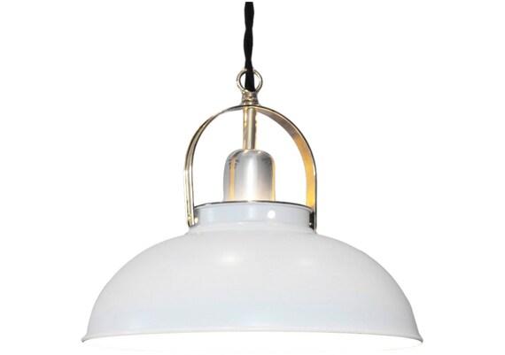 1950's Danish Modern Pendant Light, New Wiring, Polished Chrome and Brass -SALE