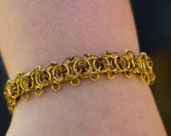 Chainmaile Bracelet - Gold and Copper Adapted Parallel Weave