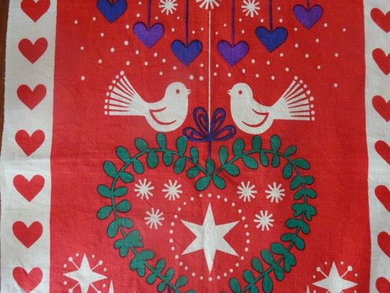 Vintage Swedish Christmas wall hanging  / 60s linen