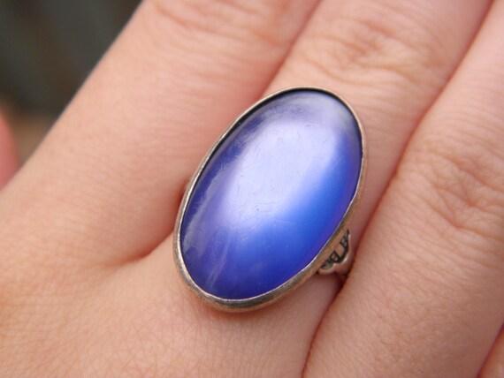 Huge Antique Blue Moonstone Ring Set in Ornate Sterling Silver Size 8 1/2