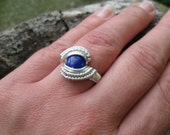 Size 6 Lapis Lazuli Wire Wrapped Ring in Sterling Silver
