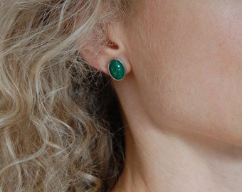 Chrysoprase Earrings Large Post Earrings Emerald Green Natural Stone Earrings Chrysoprase Jewelry Luxury Jewelry
