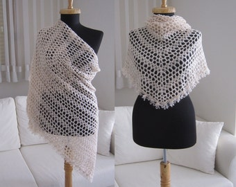 handmade crochet very light powder pink beaded angora wool shawl stole scarf with beaded edging