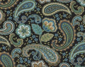 1 Fat Quarter, Paisley Fabric, Floral Fabric, Country, Blue Fabric Fabric, 01161