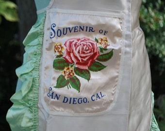 Fabulous San Diego Souvenir Silky Ruffled Apron