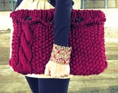 Knitted Laptop Sleeve Computer Cozy Electronic Case Red Cable Knit With Buttons Gadget Accessories Burgundy