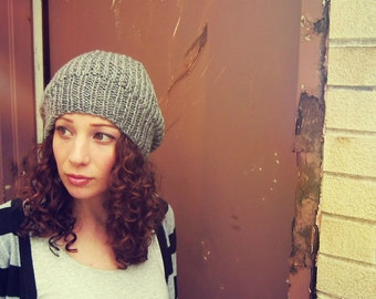 Womens Hipster Hat Gray Slouchy Beanie Womens Winter Cap Hand Knit Accessory Ladies Oversized Hat Trendy Knits