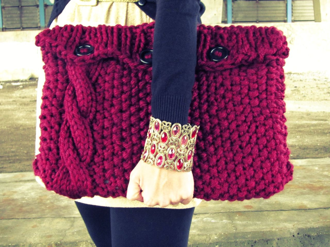 Laptop Bag Knitting Pattern : Knitted Laptop Sleeve Computer Cozy Electronic Case Red Cable