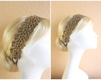 Metallic Gold Lace Elastic Headband / Boho Style Headband